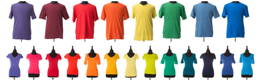 different colored tshirts on mannequins