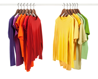 colored shirts hanging