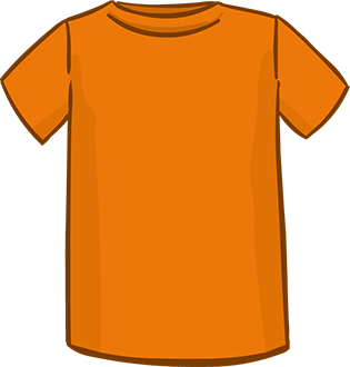orange short sleeved tshirt